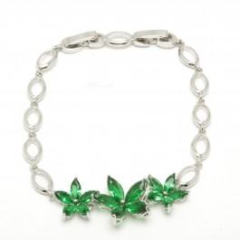 "Браслет XUPING Silver ""зелёный"" (18 + 2 х 0.5 см.) 204366"