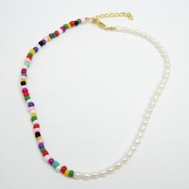 Чокер з річкових перлин (35 + 5 см.) 6-0427